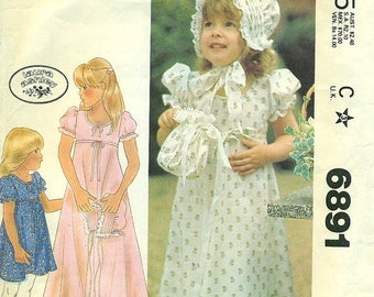 McCalls 6891 LAURA ASHLEY Girl's Dress Bonnet & Bag Size CHOICE also Issued as McCall's 4548 Vintage 1970s
