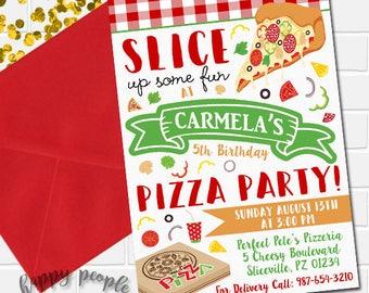 Pizza Party Invitation, Pizza Invitation, Pizza Birthday Invite, Pizza Party Invite, Kids Birthday Invitation, Pizza Making Party Invitation