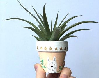 Mini Llama Planter, Hand Painted, Terra Cotta, Succulent, Succulent Planter, Plant Pot