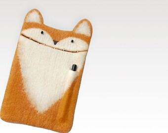 "Fox case for iPad Pro 10.5 inch, eco friendly iPad Pro 10.5"" case with pencil pocket, felt cover, wool sleeve, handmade gift"