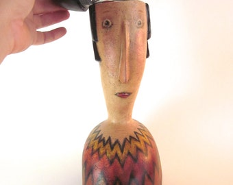 The Day My Head Exploded  Stylized Woman Mixed Media Gourd Sculpture
