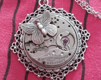 long necklace steampunk gears silver watch with butterfly