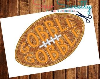 Gobble Gobble Turkey Football Applique Design - Embroidery Machine Pattern - Thanksgiving
