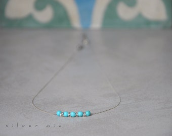 Turquoise and silver necklace, Beaded necklace, Layering necklace, Everyday necklace, Short silver necklace, Dainty necklace