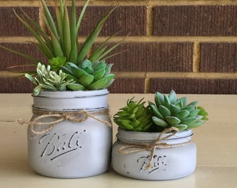 Mason Jar Decor, Mason Jar Succulent Planter, Succulent Planter, Faux Succulents, Artificial Succulents, Office Decor, Rustic Home Decor
