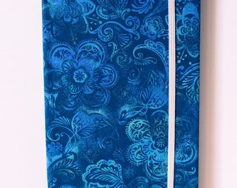 Teal Floral Handmade Notebook with Elastic Closure