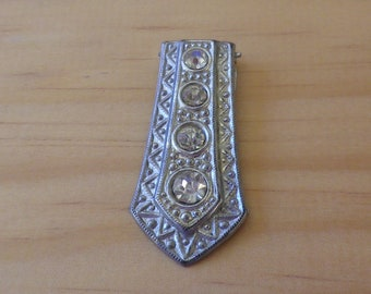 Vintage Silver Plated Clear Rhinestone Dress Clip