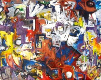 Mutt 48 x 36 inch abstract expressionism