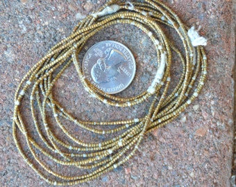 African Brass Heishi: 3 Strands (1x1mm)