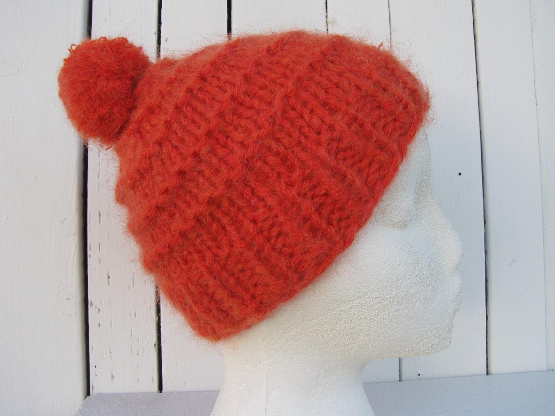 7a2582fcfda Orange Mohair Baby Hat Orange Knit Beanie 3-6 mo Chunky