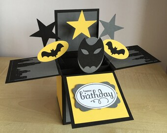 Handmade Card in a box, batman themed birthday greeting card, box card, 3D greeting card, pop up card inspired by superheroes.