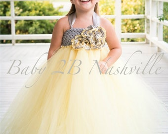 Vintage Yellow Wedding Flower Girl Dress with Silver Wedding Flower Girl Dress All Sizes Girls