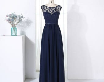 Lace Top Bodice with Illusion Sweetheart Detail Long Chiffon Bridesmaid Dress and Low Back Detail