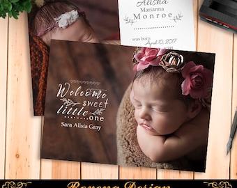 Birth Announcement Template, Birth Announcement Girl, Birth Announcement Template Boy, Photography Templates, Photoshop Template