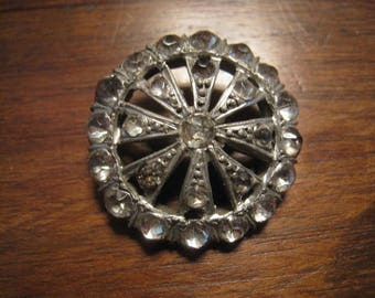 antique Button METAL button old rhinestone metal silver 28 mm