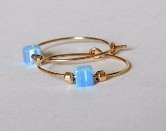 Valentines Day Sale Gold Thin opal hoop, Gold Opal Hoop Earrings, Bridal Jewelry, Bridesmaids Gifts, Blue Opal Hoops Earrings, Everyday