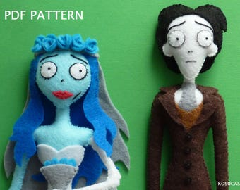 PDF pattern to make a felt Emily and Victor, characters of the Corpse bride.
