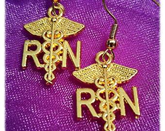 Nursing Jewelry, Nursing Earrings, Nursing Graduation Gift, Nurse Pinning, Gold Colored RN Earrings, Nursing School, Nurses Week