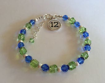"Seahawks Crystal Sterling 12 Charm Bracelet, 7 3/4 to 8 3/4"" 12th woman, Seahawks fan jewelry, Hawks Mom, Gift for her, gift under 30"