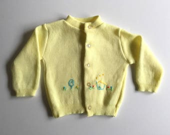 Vintage Baby 70's Yellow Cardigan Sweater, Long Sleeve by KMart (7-12 mos)