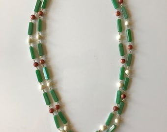 Vintage Faux Jade Double Strand Necklace