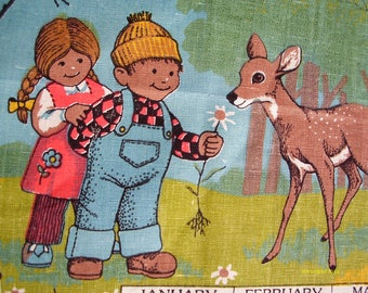 Vintage 1987 Linen Calendar Dishtowel or wall hanging, Boy and Girl with Fawn, 16 by 25.5 inches