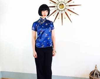 Blue Silk Cheongsam, 60s Cheongsam blouse, Chinese Satin Blouse, Royal Blue Blouse, Embossed Floral Asian blouse, Chrysanthemum Bauhinia, 34