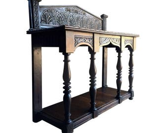 Antique 19th Century Carved Oak Buffet Sideboard