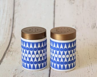 Vintage Hornsea Geometric 1970s Blue And White Salt & Pepper Set - Collectible