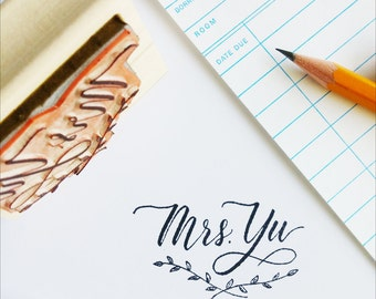 Custom Name Stamp, Rubber Stamp, Return Address Stamp, Calligraphy Name Stamp, Teacher Stamp