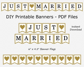 Just Married Banner - Black & Gold - Heart - Wedding Photo Prop - PRINTABLE - INSTANT DOWNLOAD