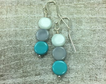 Dainty Small Simple Earrings - Multi Color - Blue Flat Coin - Dangle Charm Silver Earrings - Gifts For Her - Delicate Darling Earrings
