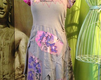 Dress T 40 unstructured taupe pink and purple cotton and linen