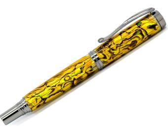 George Rollerball/Fountain/Hybrid Pen | Gold Paua Abalone | Black Titanium