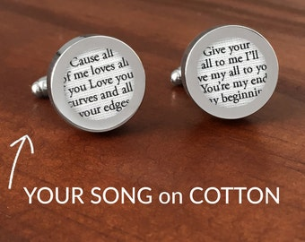 Cotton Anniversary Gift for Him / 2nd Anniversary Gifts for Men /Second Anniversary Gifts for Men /Custom Cufflinks with your Song on COTTON