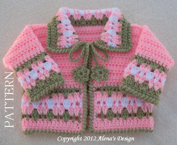 Crochet Pattern 045 - Blossom Baby Jacket - 3, 6, 12, 24 months Baby Jacket Toddler Sweater Baby Girl Doll Winter Sweater Cardigan Coat