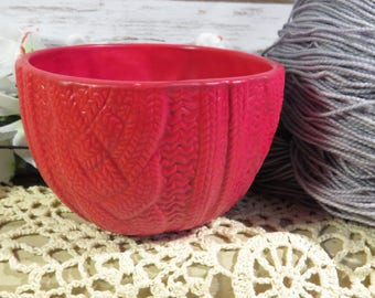 Red Velvet cabled sweater bowl