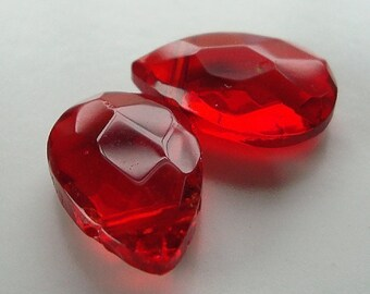 Czech Glass Beads 15 x 10mm Brilliant Puffed Ruby Red Faceted Teardrop Briolettes - 2 Pcs.