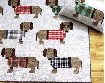 Sale!  Sale!   DOGS IN SWEATERS     Quilt & Pillow Pattern    Wienner/dachshund Dog Quilt - By Elizabeth Hartman