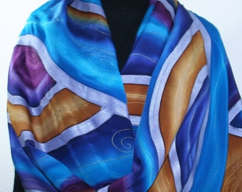 Purple Blue Mustard Silk Scarf Hand Painted Handmade Silk Shawl EVENING GLOW, by Silk Scarves Colorado. Select Your SIZE! Birthday Gift