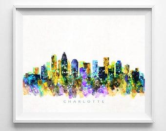 Charlotte Skyline Print, Watercolor Art, North Carolina Skyline, Wall Art, Cityscape, Home Decor, City Poster, Fathers Day Gift