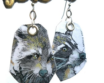 Adorable Raccoon - hand-painted fauna earrings - cute animals