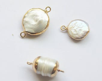5PCS High Quality Gold Plated Brass Baroque pearls connector,Natural freshwater pearls,pearl charm,irregular pearl,pearl link