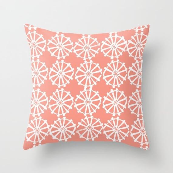 OUTDOOR Throw Pillow . Peach Outdoor Pillow . Peach patio cushion . Modern Geometric Pillow Wheel . 16 18 20 inch . Lumbar Pillow