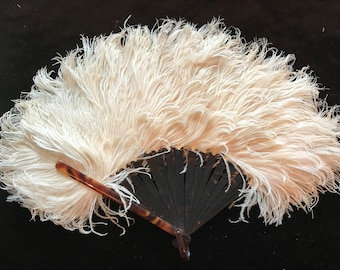 Edwardian white ostrich feather and tortoiseshell fan