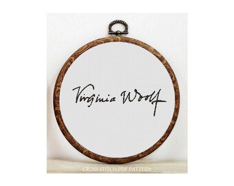 Signature-Virginia Woolf-Cross Stitch Pattern-Modern Sampler-Pdf-Instant Download