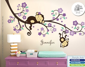 Purple Monkey Wall Decal with Flowers and Name. Girl Nursery Stickers with cute Monkeys and Name decal for Baby room, d135