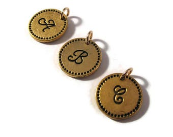 Round Initial Charms, Gold Bronze Letter Charm, Bronze Alphabet Pendants for Jewelry Making, Personalized Jewelry