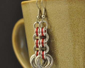 3in3 Red and Silver Earrings E59