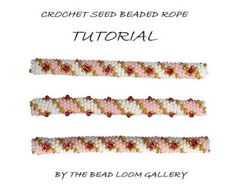 Beaded Rope Pattern - PDF File Tutorial - Crochet Seed Beaded Rope with Swarovski Crystals - Golden Lace
